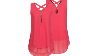 Sleeveless Zip Front Sheer Top - Six Colours  & Five Sizes Available with Free Delivery