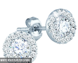 $650 for a Pair of 14ct White Gold Cluster Studs or $2,550 for a Nine-Stone Diamond Ring (value up to $5,995)