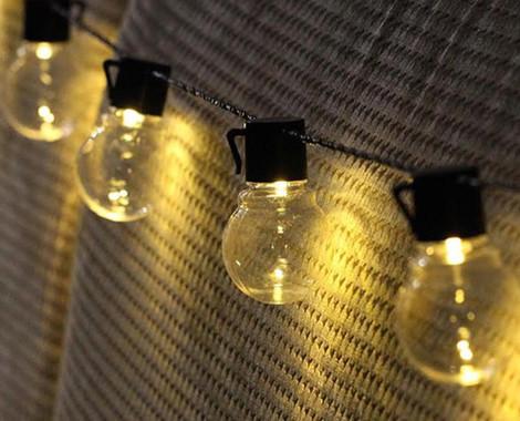 10 LED Solar Retro Bulb String Lights - Option for 20 Available